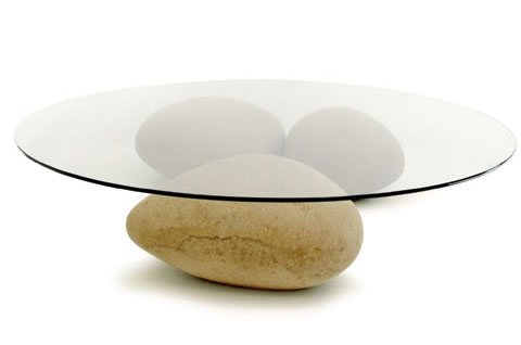 table on pebbles