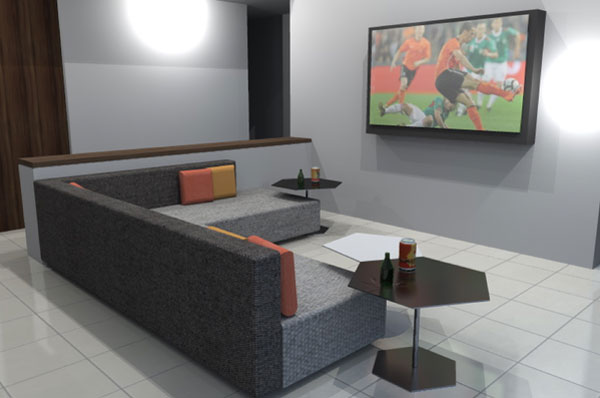 football tables in living room