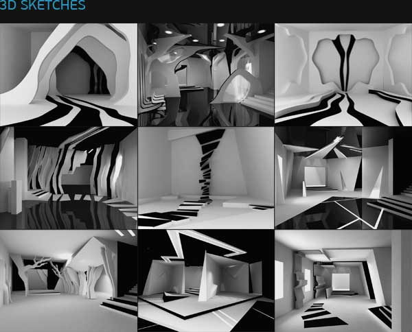 3 d sketches of dance hall