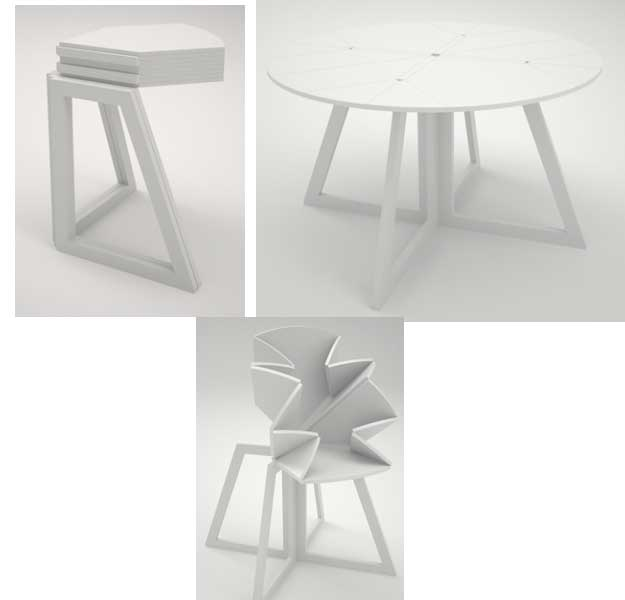origami inpired table